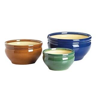 Bright Tri-Color Ceramic Plant/Flower Pots - Set of 3