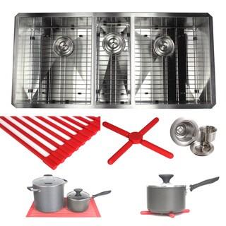 Ariel 42-inch Stainless Steel Triple-basin Zero Radius Undermount Kitchen Sink Combo