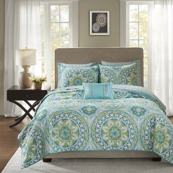 Madison Park Essentials Orissa Aqua Complete Coverlet and Cotton Sheet Set