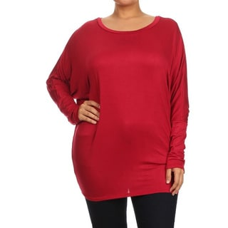 MOA Collection Women's Solid Rayon/Spandex Plus-size Shirt