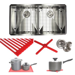 Ariel 37-inch Stainless Steel Double-basin Zero Radius Under-mounted Kitchen Sink Set