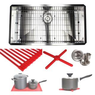 Ariel 36-inch Stainless Steel Zero Radius Single Bowl 16-gauge Undermount Kitchen Sink