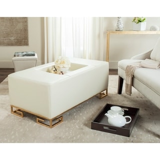 Safavieh Julian Faux Ostrich Tray Cream Ottoman/Coffee Table (As Is Item)