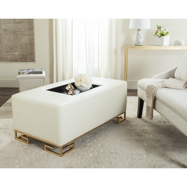 Beau Safavieh Julian Faux Ostrich Tray Cream Ottoman/Coffee Table