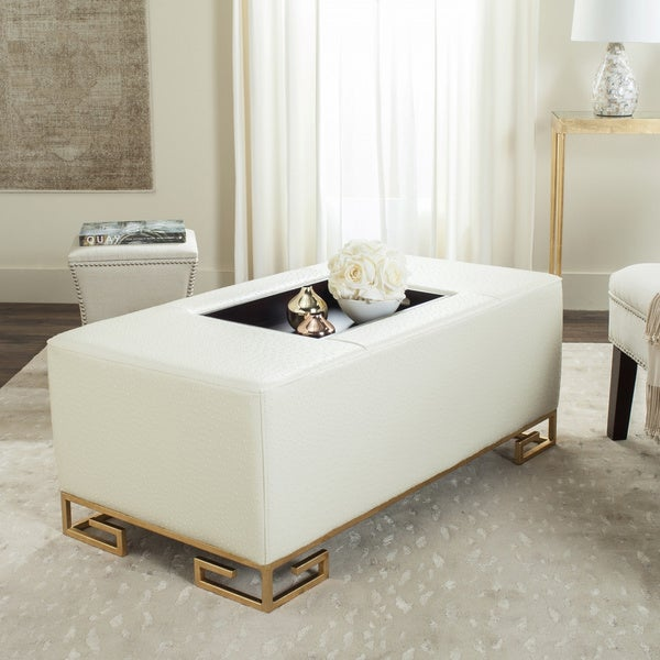 Coffee Table Tray Home Goods: Shop Safavieh Julian Faux Ostrich Tray Cream Ottoman