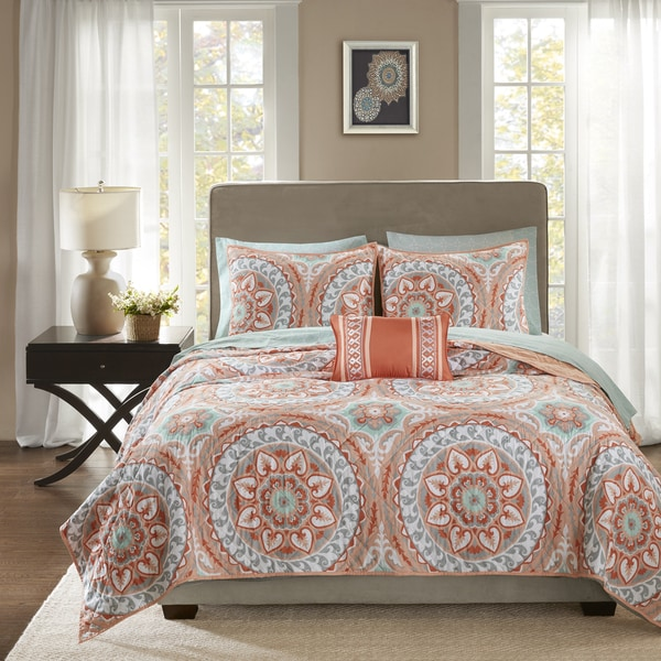 Madison Park Essentials Brighton Coral Complete Coverlet and Cotton Sheet Set