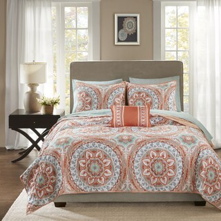 The Curated Nomad La Boheme Coral Complete Coverlet and Cotton Sheet Set