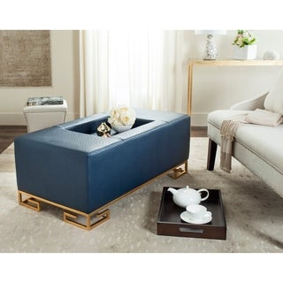 Safavieh Julian Faux Ostrich Tray Navy Ottoman/Coffee Table
