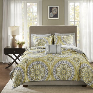 Madison Park Essentials Savanah Yellow Complete Coverlet and Cotton Sheet Set