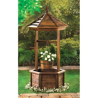 Lancaster Wooden Wishing Well Flower Holder