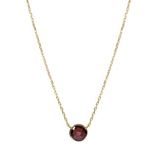 14k Yellow Gold Garnet Pendant Necklace