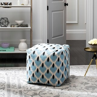 Safavieh Pierre Light Blue, Black and Natural Pouf