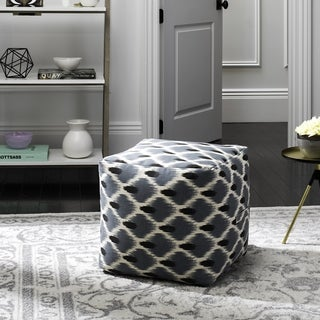 Safavieh Pierre Dark Blue, Black and Natural Pouf