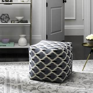 Safavieh Pierre Dark Blue, Black and Natural Pouf|https://ak1.ostkcdn.com/images/products/13342433/P20045010.jpg?impolicy=medium