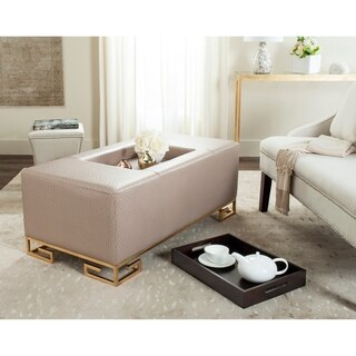 Safavieh Julian Faux Ostrich Tray Taupe Ottoman/Coffee Table