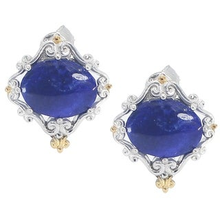 One-of-a-kind Michael Valitutti Palladium Silver Oval Cabochon Lapis Stud Earrings