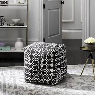 Safavieh Adeline Geo Black and White Chain Design Pouf