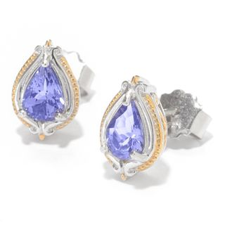 One-of-a-kind Michael Valitutti Palladium Silver Pearshaped Tanzanite Stud Earrings