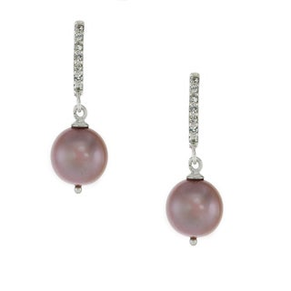 One-of-a-kind Michael Valitutti Sterling Silver Pearl and White Topaz Dangle Earrings