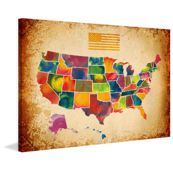 Shop Marmont Hill Pat Spark  US Map  Painting Print on Wrapped ... 54ffc0144