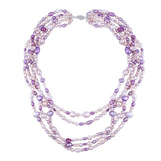 Five-row Multi-shape Pink FWP Necklace