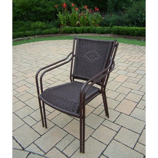 Merit Stackable Straight Back Brown Wicker Chairs (Set of 4)