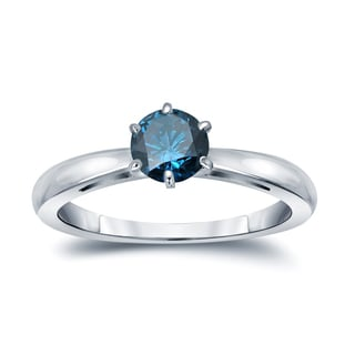 Auriya 14k Gold 1/4ct TDW 6-Prong Round Cut Blue Diamond Solitaire Engagement Ring (Blue)