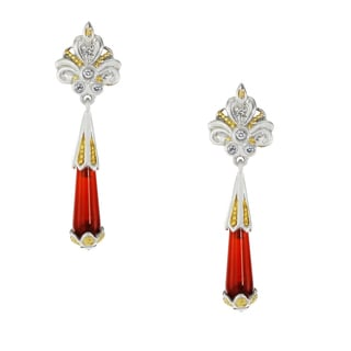 One-of-a-kind Michael Valitutti Palladium Silver Carnelian Drop and White Sapphire Earrings