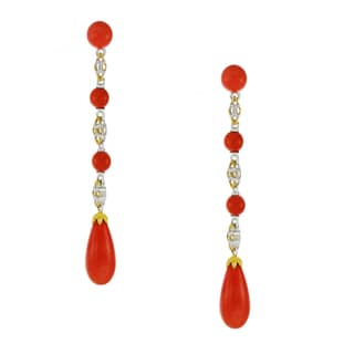One-of-a-kind Michael Valitutti Palladium Silver Salmon Coral Drop Earrings