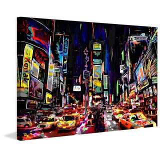 Marmont Hill - 'Times Square Night' by Ryan Rabbass Painting Print on Wrapped Canvas