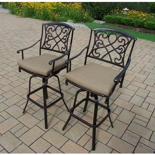 Elegance Cast Aluminum Cushioned Swivel Bar Stools (Pack of 2)