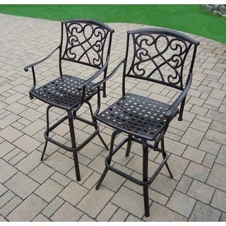 Elegance Cast Aluminum Pair Swivel Bar Stools (Pack of 2)