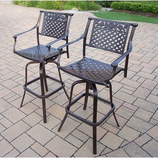 Camellia Antique Bronze Cast Aluminum Swivel Bar Stools (Set of 2)
