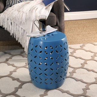 Abbyson Saint-Barth Blue Ceramic Garden Stool