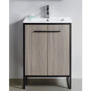 "Vdara 24"" Gray Taupe Bathroom Vanity Cabinet Set"