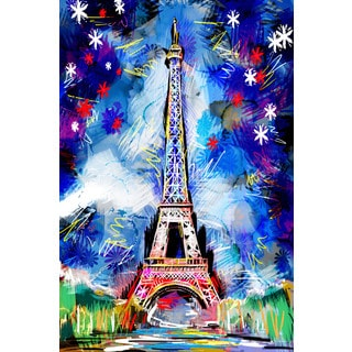 Marmont Hill - 'Eifel Tower Stars' by Ryan Rabbass Painting Print on Wrapped Canvas