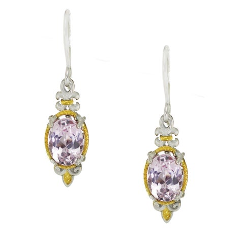 One-of-a-kind Michael Valitutti Palladium Silver Oval Kunzite Earrings