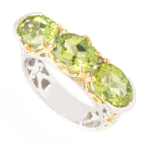 Michael Valitutti Palladium Silver Three Stone Peridot Ring
