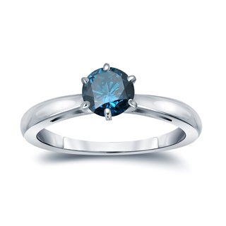 Auriya 14k Gold 1/2ct TDW 6-Prong Round Cut Blue Diamond Solitaire Engagement Ring (Blue)