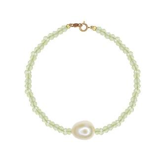 14k Yellow Gold Freshwater Pearl and Lemon Quartz Bracelet