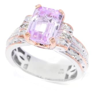 Michael Valitutti Palladium Silver Kunzite, Pink Tourmaline and Diamond Ring|https://ak1.ostkcdn.com/images/products/13342866/P20045312.jpg?impolicy=medium