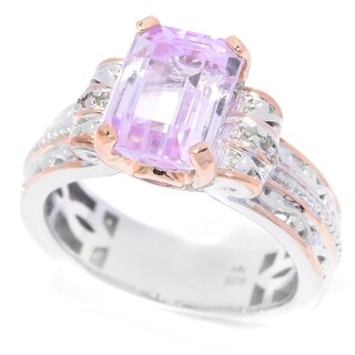 Michael Valitutti Palladium Silver Kunzite, Pink Tourmaline and Diamond Ring