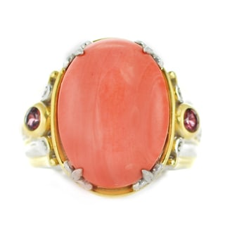 One-of-a-kind Michael Valitutti Palladium Silver Salmon Coral and Rhodolite Ring