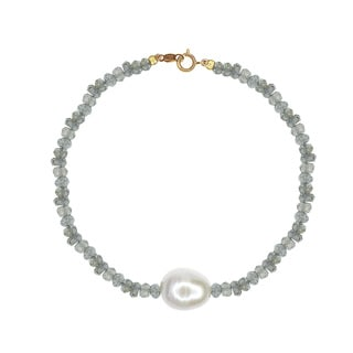 14k Yellow Gold Labradorite Freshwater Pearl Bracelet