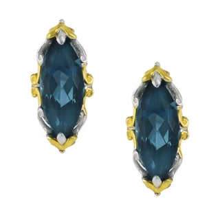 One-of-a-kind Michael Valitutti Palladium Silver Marquise London Blue Topaz Stud Earrings