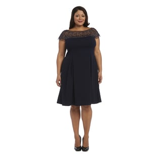 R M Richards Blue Polyester/Spandex Plus Size Beaded Dress