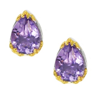One-of-a-kind Michael Valitutti Palladium Silver Pearshaped Brazilian Amethyst Stud Earrings