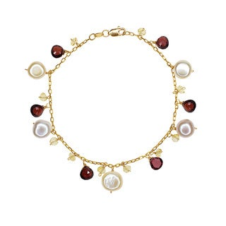 14k Yellow Gold Pink Peach Freshwater Pearls/Garnet/Citrine Bracelet