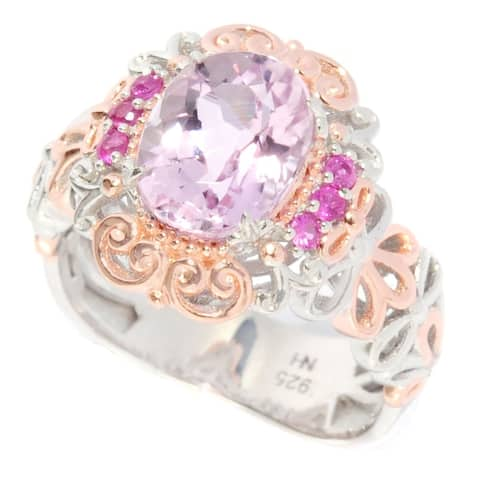 One-of-a-kind Michael Valitutti Palladium Silver Kunzite Floral with Pink Sapphire Ring