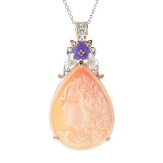 One-of-a-kind Michael Valitutti Carved Cameo, Flower Amethyst, Rose Quartz and Pink Tourmaline Pendant